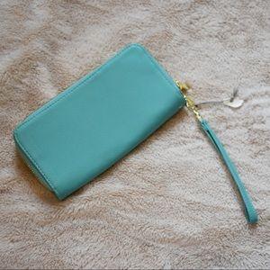Handbags - Aqua/Teal Faux Leather Double Zip Wallet